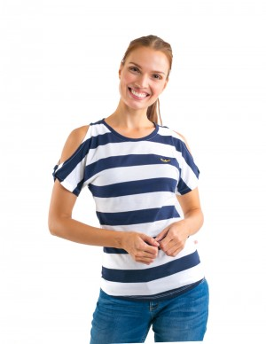 Freshgear Cold Shoulder Striped Tee Blue In Blue