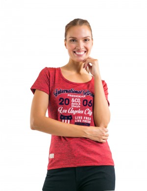 Freshgear Graphic Tees Flocking Print Application In Red