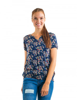Freshgear Printed Navy Blue Floral Shortsleeve In Blue