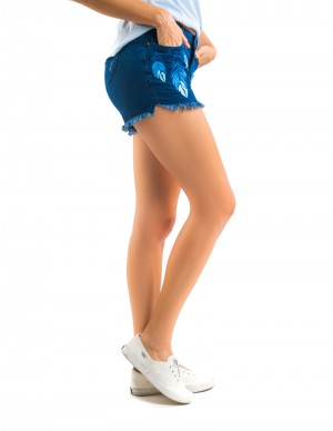 Freshgear Embroidered Feather Shorts In Blue