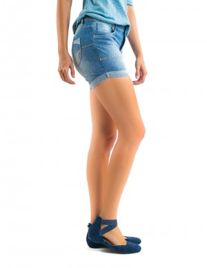Freshgear Patched Pocket Shorts In Blue