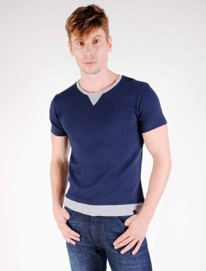 Cherokee Ringer Fleece Cotton T-Shirt with Brand Embroidery in Blue or Gray