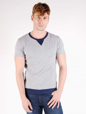 Cherokee Ringer Fleece Cotton T-Shirt with Brand Embroidery in Gray or Blue