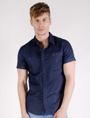 Cherokee by Rodeo Drive Button-Down Chambray Shirt with Chest Pockets and Embroidery in Blue