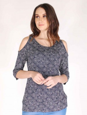 Cherokee by Rodeo Drive Printed Cold Shoulder Tee in Blue