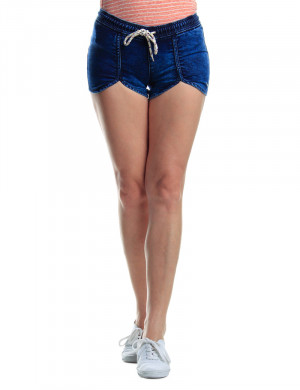 Freshgear Knitted Denim Shorts W/ Draw String In Blue