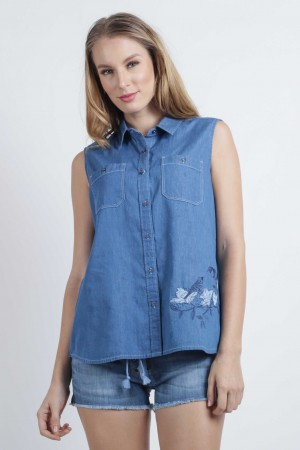 Freshgear Sleeveless With Embroidery In Blue