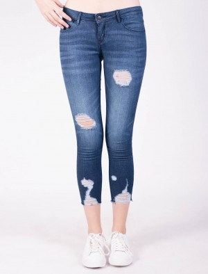 Freshgear by Rodeo Drive Low Skinny Jeans with Distressed in Blue