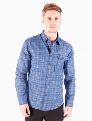 Freshgear by Rodeo Drive Long Sleeves Shirt with Geometric Lines in Blue
