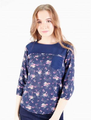 Freshgear by Rodeo Drive Floral 3/4 sleeves shirt with Pocket in Blue