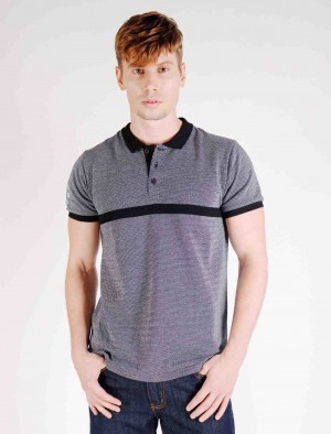 Rifle by Rodeo Dirve Button-up Warp Knit Cotton Polo Shirt with Embroidery on Sleeve and Cut & Sew detail in Black