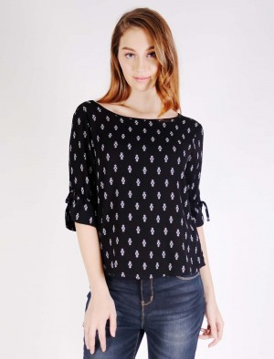 Rifle Printed Rayon Shirt with Tie Knot on Cuff and Back Collar in Black