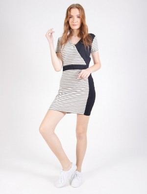 Rifle by Rodeo Round Neck Drive Cut and Sew Striped Dress in White