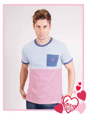 Rifle By Rodeo Drive Love Corner Stripes Tee With Pocket And Embro In White