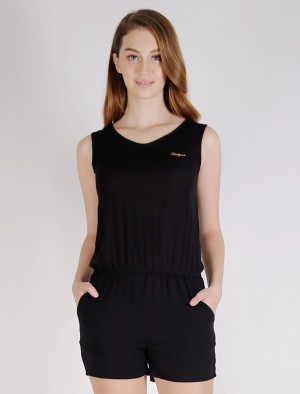 Freshgear by Rodeo Drive Sleeveless Rayon Romper Dress with Chest Brand Embroidery and Back Collar Zipper in Black