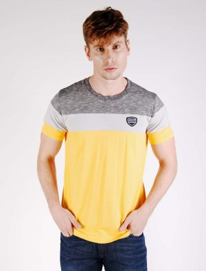 Cherokee Cut and Sew Cotton T-Shirt with Brand Patch in Yellow or Blue
