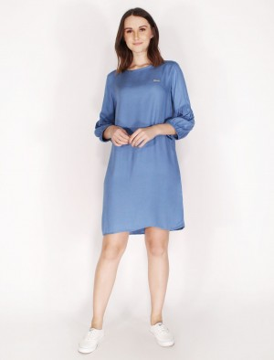 Cherokee by Rodeo Drive Puff Sleeves Dress In Blue