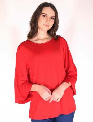 Cherokee by Rodeo Drive Bell Sleeves Shirt In Red