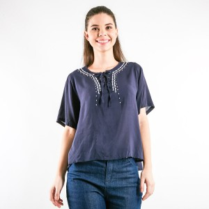 Cherokee Embroided Rayon Shirt with Ribbon in Black