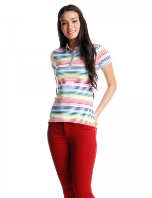 Freshgear Rainbow Colors Polotees Stripes In Pink