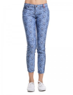 Freshgear Printed Floral Switch Up Denim Pants In Blue