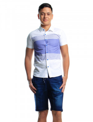 Freshgear Boys S/S W/ Stripes Print In White