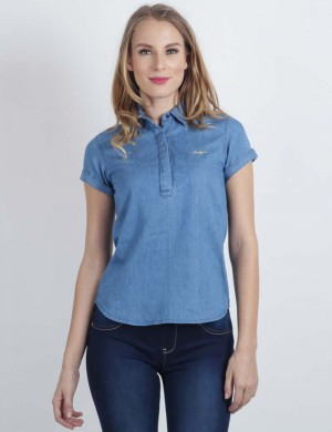 Freshgear Slim Shortsleeves Chambray W/ Hidden Placket In Blue