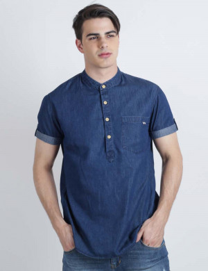 Freshgear Boys Ss Chambray W/ Chinese Collar In Blue
