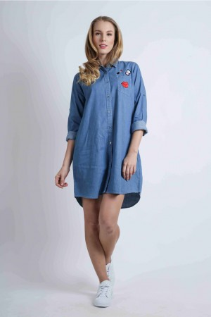 Freshgear Dress With Embro In Blue