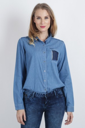Freshgear Chambray Long Sleeve Shirt In Blue