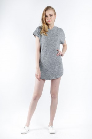 Freshgear Terry Dress With Hoodie In Gray