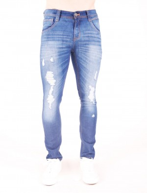 Freshgear by Rodeo Drive Super Low Rise Slim Narrow Distressed Jeans in Blue
