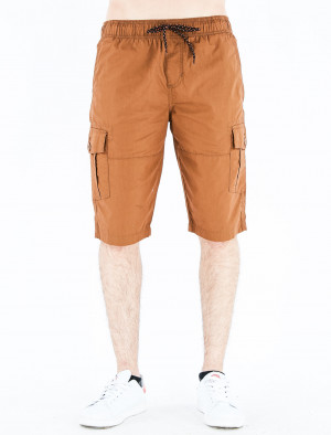 Freshgear Low Rise Skinny Cargo Shorts in Choco Brown