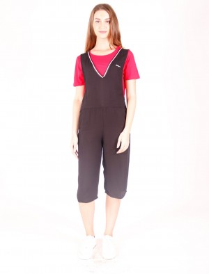 Freshgear by Rodeo Drive Jumpsuit Dress with Ribbing in Black
