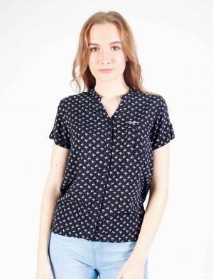 Freshgear by Rodeo Drive Black Floral Printed Shirt with Pocket and Gartherized Waist