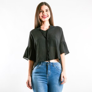 Rifle Ribbon Tie Collar Rayon Shirt with Ruffle Sleeve in Black
