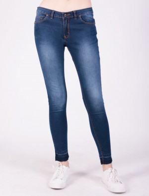 Rifle by Rodeo Drive Low Waist Skinny Jeans with Raw Edge Bottom Hem in Blue