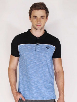 Rifle by Rodeo Drive Siro Slub Cut &   Sew Polo Tee W/   Patch In Blue