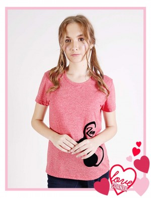 Rfile By Rodeo Drive Love Corner Cotton Tee With Cat Design Graphic In Red
